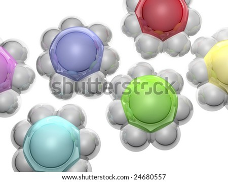 abstract groups at the head with managers - stock photo