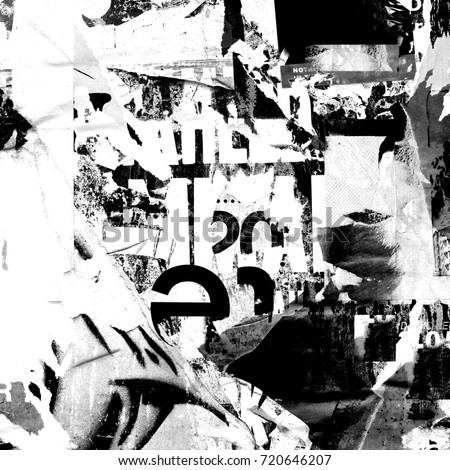 Abstract grunge background with old torn posters black and white design