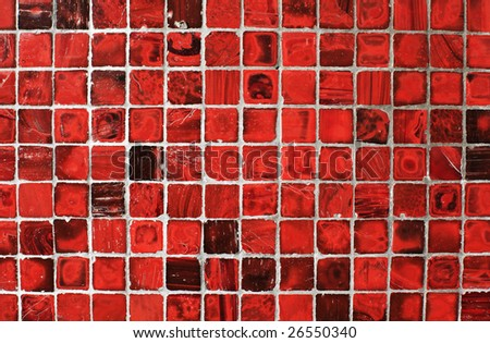 abstract grunge  background with square red tiles - stock photo