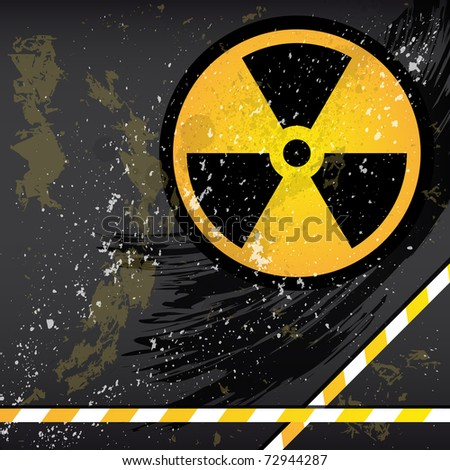 Abstract grunge background with the emblem of radiation. - stock photo