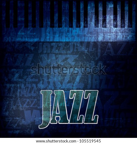 abstract grunge blue background with word jazz - stock photo