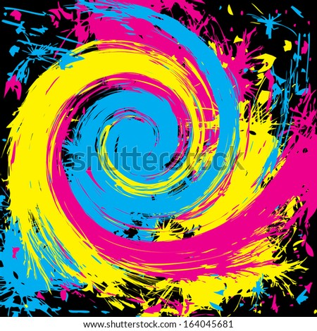 abstract grunge cmyk background with whirlpool - stock photo