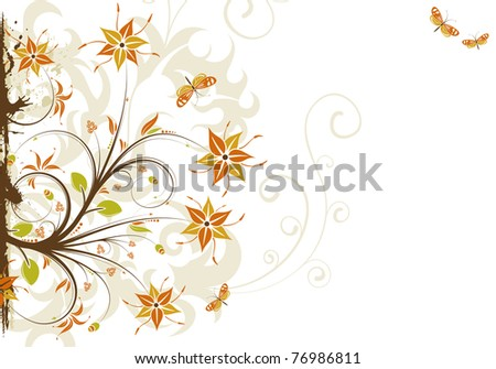 Abstract grunge floral frame with butterfly, element for design, illustration