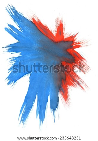 Abstract grunge gouache painting background of blue and red color. - stock photo