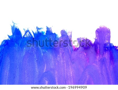 Abstract grunge gouache painting background of blue color. - stock photo