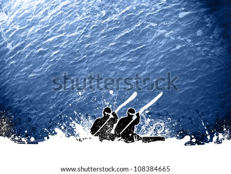 Abstract grunge Kayak sport background with space - stock photo
