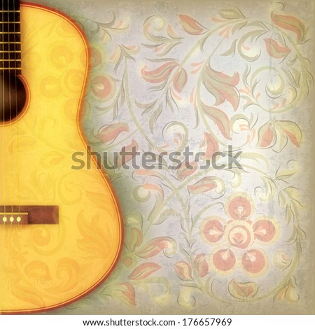 abstract grunge music background with acoustic guitar and floral ornament - stock photo