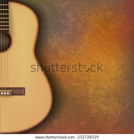abstract grunge music background with guitar on brown stone texture - stock photo