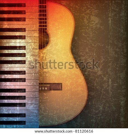 abstract grunge music background with piano and guitar - stock photo
