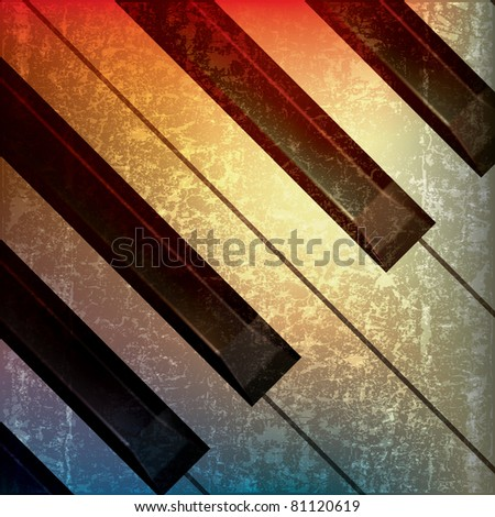 abstract grunge music background with piano keys - stock photo