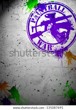 Abstract grunge paintball poster or flyer background with drawing symbols