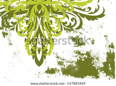Abstract grunge painted background with floral elements - stock photo