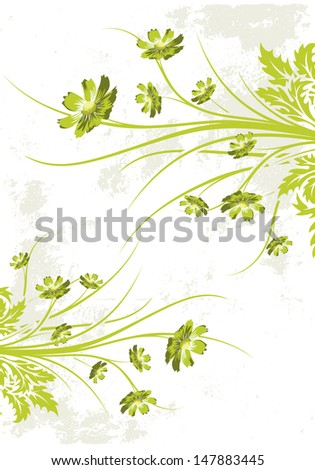 Abstract grunge painted background with flowers - stock photo