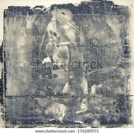 abstract grunge, painted jeans background - stock photo
