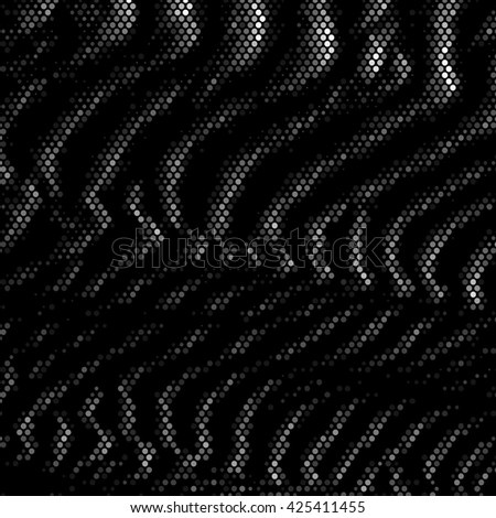 Abstract grunge polka dot wave background pattern. Spotted line illustration - stock photo