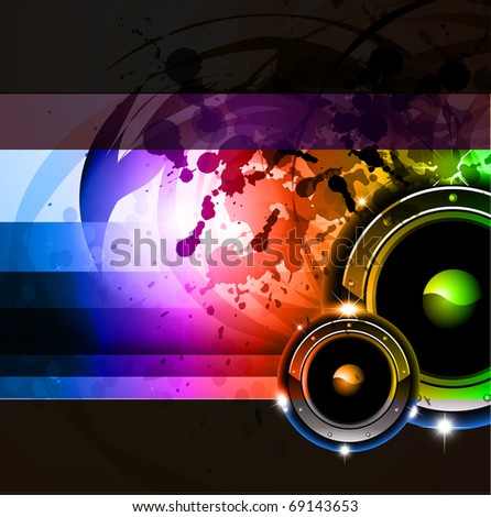 Abstract Grunge Rainbow Disco Background for Posters or Flyers - stock photo
