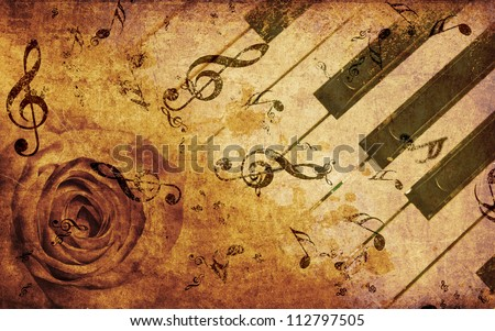 Abstract grunge rose and piano, vintage music background - stock photo