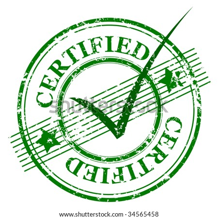 Abstract grunge rubber office stamp with the word certified and stars and lines (jpg) - stock photo