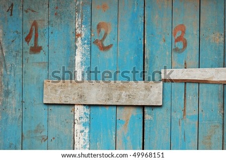 abstract grunge texture of wooden wall with numbers 1, 2, 3 - stock photo