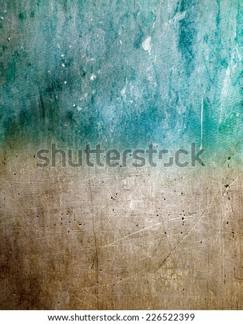 Abstract grunge wall pattern coloured blue and brown - stock photo
