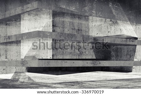 Abstract grungy concrete constructions background with dark chaotic structures. 3d render illustration - stock photo