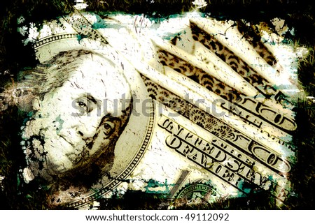 Abstract grungy money background illustration with scratches and a worn border.  Great for greed or corruption concepts. - stock photo