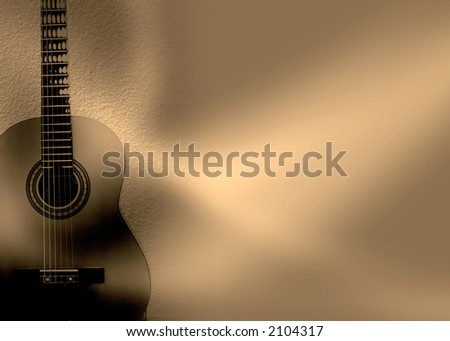 abstract guitar composition, sepia - stock photo