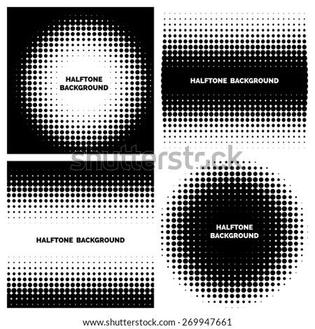 Abstract halftone backgrounds with text. Dot graphic monochrome - stock photo