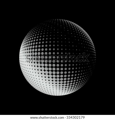 Abstract halftone circle design. White round icon on black background, abstract globe symbol, business concept. Abstract white dotted sphere. Stippled background