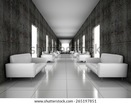 Abstract hall with a concrete wall 3D rendering - stock photo