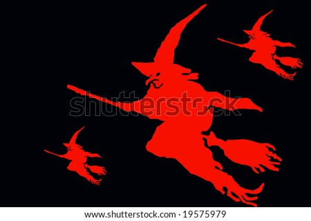 Abstract Halloween illustration with witches isolated over black
