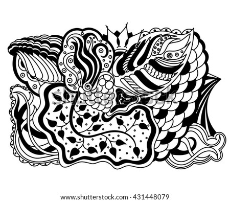 Abstract hand-drawn floral texture, wavy background. Flowers and leaves backdrop. Pattern for coloring book. Doodle style. Zentangle style.