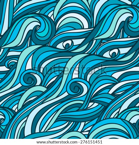 Abstract hand-drawn pattern, blue waves background. Seamless pattern. illustration that can be copied without any seams. raster version - stock photo