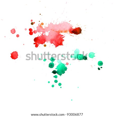 abstract hand drawn watercolor - stock photo