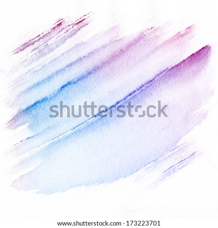 Abstract hand drawn watercolor background. Aquarelle blue texture. - stock photo