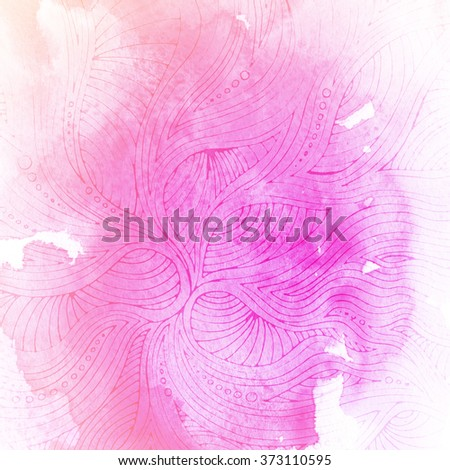 Abstract hand drawn watercolor background. Aquarelle colorful texture. Light pink backdrop with ornament. - stock photo