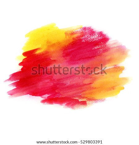 Abstract hand drawn watercolor background. Aquarelle colorful texture. Warm red and yellow brush strokes.