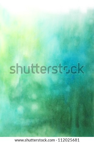 Abstract hand drawn watercolor background: blue and green blurs. Great for textures, vintage design, and luxurious wallpaper - stock photo