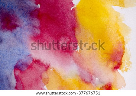 Abstract hand drawn watercolor background: illustration of purple, red and yellow spots. Great for textures, vintage design, and luxurious wallpaper. - stock photo