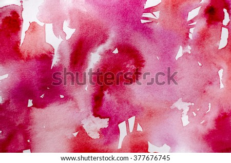 Abstract hand drawn watercolor background: illustration of red and pink spots. Great for textures, vintage design, and luxurious wallpaper. - stock photo