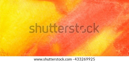 Abstract hand drawn watercolor background in yellow and orange, raster illustration, abstract watercolor hand painted background, warm theme - stock photo