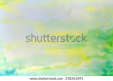 abstract hand drawn watercolor background, raster illustration, stain watercolors colors wet on wet paper - stock photo