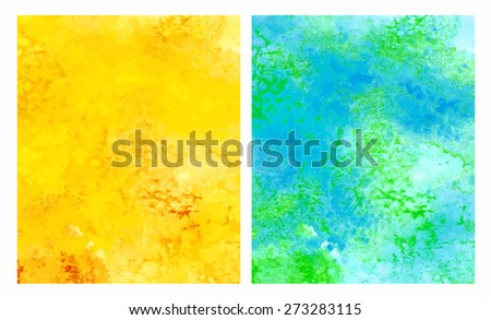 Abstract hand-drawn watercolor background. Set - orange and blue/green. Relief. Raster copy. - stock photo