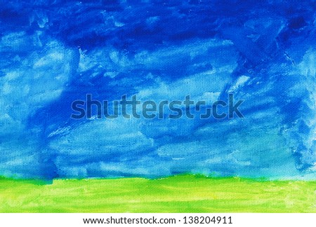 Abstract hand drawn watercolor background: summer landscape with blue sky, green grass. - stock photo