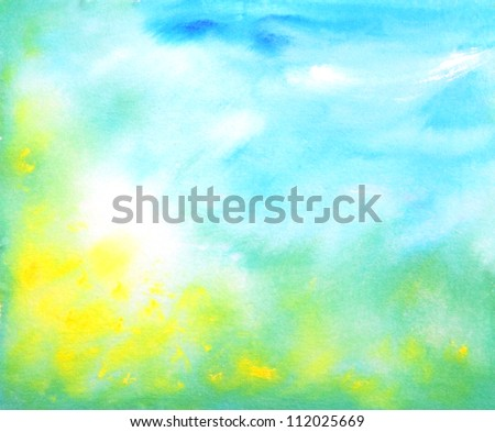 Abstract hand drawn watercolor background: summer landscape with blue sky, green grass and yellow flowers. Great for textures, vintage design, and luxurious wallpaper - stock photo
