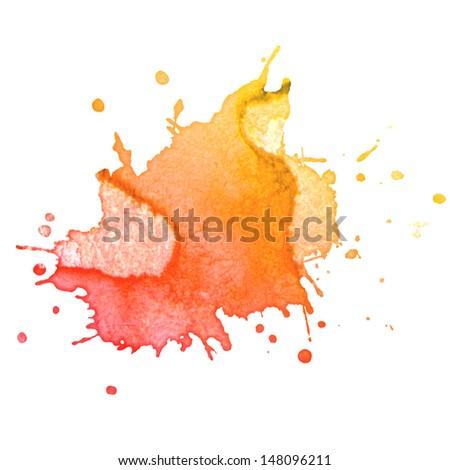 abstract hand drawn watercolor blot - stock photo