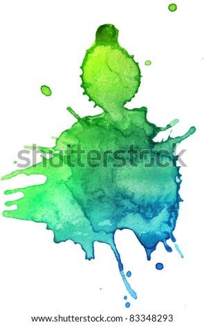 abstract hand drawn watercolor blot, raster illustration - stock photo