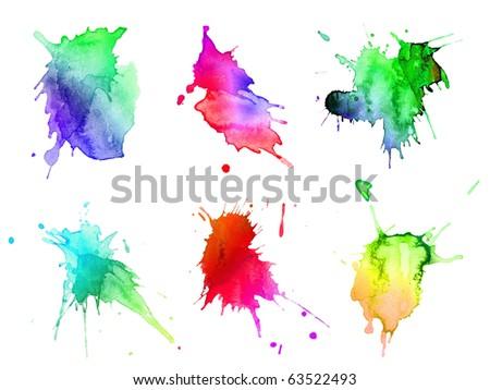 abstract hand drawn watercolor blots set - stock photo