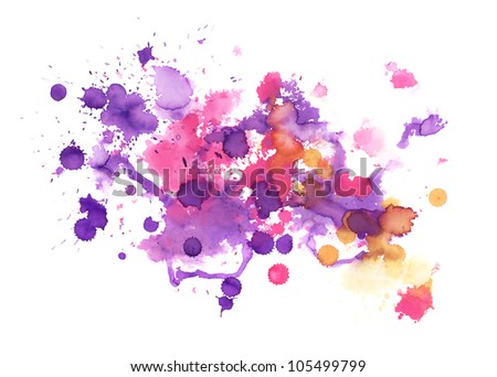Abstract hand made watercolor splashes - stock photo