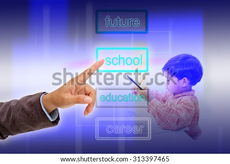 Abstract hand of mother searching and choose school for her child. - stock photo